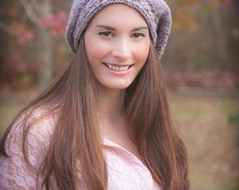 Loom Knit Beret PATTERN with Cable Brim, Ladies Hat. Painters beret, PDF PATTERN Download.