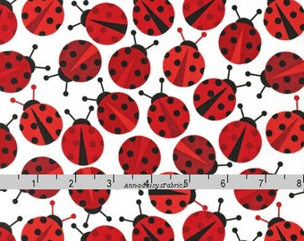 Ladybug Fabric, Ann Kelle, Robert Kaufman 114504 3 Red, Urban Zoologie, Black & Red Ladybug Quilt Fabric, Lady Bug, Insect Fabric, Cotton
