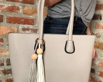 Light Grey Hand Bag with Two Tone Tassles/Monogram