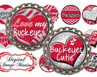 INSTANT DOWNLOAD Buckeyes 4x6 Digital Printable 1 Inch Circle Bottle Cap Images (105)