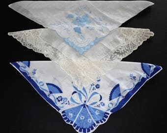 3 Vintage Handkerchiefs blues and white on white