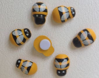 50 Adhesive Wooden Bumble Bee Stickers Crafts 13x9mm Decoration Floral Garden Ornament Home