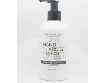 Black Amber and Lavender Hand & Body Lotion Moisturizer Cream with Aloe and Vitamin E - Natural Lotion, Body Lotion, Hand Cream