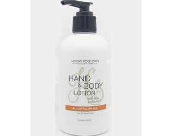 Alluring Amber Hand & Body Lotion Moisturizer Cream with Aloe and Vitamin E - Natural Lotion, Body Lotion, Hand Cream