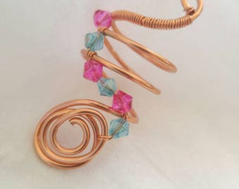 Copper Wire Wrapped  Ring Size 6, Beaded Copper Ring, Wire Wrap Ring, Ring, Handmade Ring, Ring US Size 6, Wire Wrapped Jewelry, Rings.