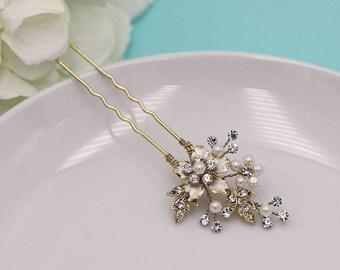Swarovski crystal pearl gold wedding hair pin, bridal hair accessories, pearl rhinestone hairpin, bridal hair pearl, gold hair pin 220315192