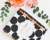 Goal Digger JAN-DEC 2017 Planner Agenda Weekly - Monthly by Susana Cresce. - Gold Foil Black White Polka Dots New Year Planner