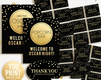 2018 Oscar Party, SALE, DIY printables, 2018 Oscar Printables, Academy Award Party, Black and gold Oscar Party 2017, DIGITAL, You Print