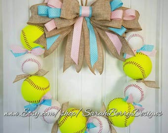 Gender Reveal Baseball Wreath - Perfect decor for the expecting parents!! Made with REAL baseballs and softballs!! Baby Nursery Shower Decor