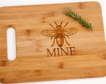 Bee (Be) Mine Engraved Cutting Board Romantic Valentine's Day Gift