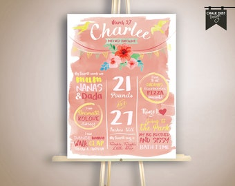 """Custom watercolor style first birthday or any age Vintage floral milestone poster, stat board. Flowers, banner, birds Digital file 18 x 24"""""""
