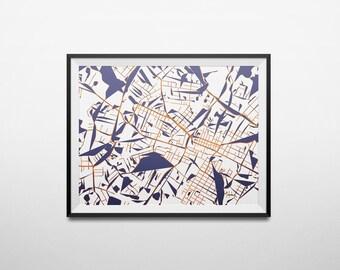 Abstract Map Print of Charlottesville, Virginia & University of Virginia