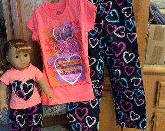 Matching girl and doll sweetheart pajamas