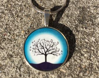 Moonlit winter tree resin pendant necklace - teal