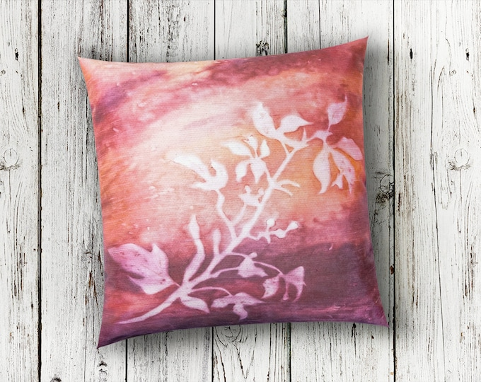 Botanical Fall Throw Pillow Cover 18x18-Watercolor Silk Pillow-Fall Decor-Cottage Decor-Rustic Decor-Gift