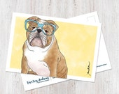 Cute English Bulldog art ...