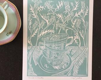 Handprinted Teacups and Thistles fine art block print, original aqua blockprint , aqua teacups art, aqua thistles art, Meg Tannehill Justice
