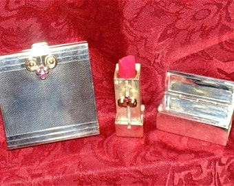 SUPER SALE STERLING Compact and Lipstick by Thomae Company in Original Leather Cases