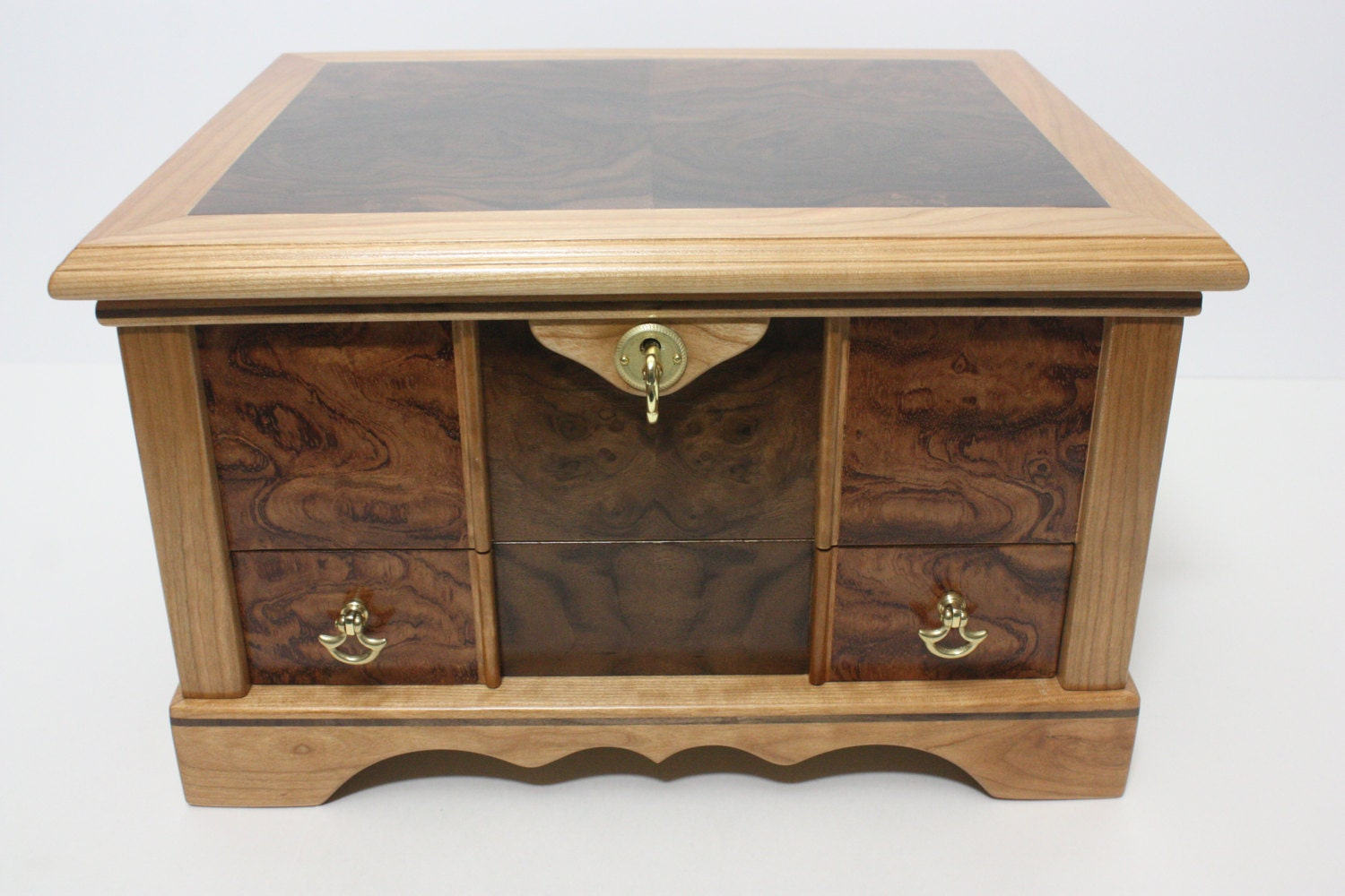 Large Locking Handmade Wood Box with Locking Drawer