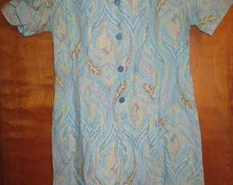 1970's Multicolored Pattern Button down to waist Housecoat.