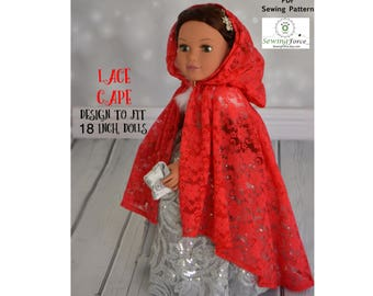 18 inch doll clothes pattern, American girl doll clothes pattern, PDF Sewing Pattern, Doll clothes PDF sewing pattern, Lace Cape PDF