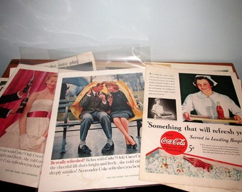 Lot of 10 Vintage Coke Coca Cola Ads from 1940's and 1950's
