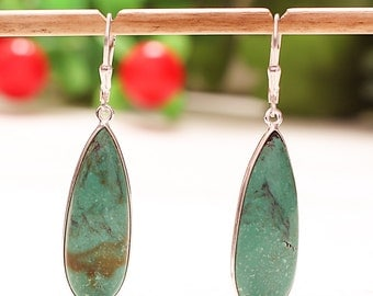 92.5 Sterling Silver Natural Turquoise Smooth Pear Lever back Lock Designer Earrings Length 1.90""