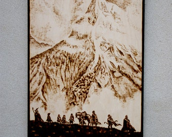 The Lord of the Ring inspired Fellowship pyrography art