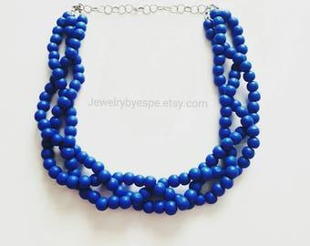 Statement Necklace, Blue Necklace, Royal Blue Necklace, Blue Wedding Jewelry, Chunky Choker Bib Multi Strand Necklace