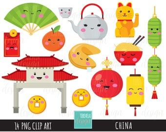 CHINA clipart, digital clipart, commercial use, kawaii clipart, china trip, chinese new year, fortune cookie, china graphics,