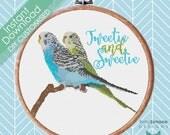 DIY PERSONALISED Budgie Parakeet Bird Love Cross Stitch Pattern