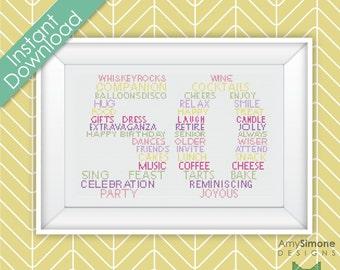 50th Happy Birthday Typography Cross Stitch Pattern