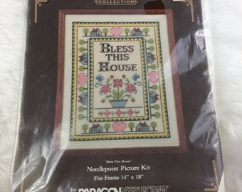 Vintage Paragon Needlecraft Needlepoint Kit 2172 Bless This House Wool Complete