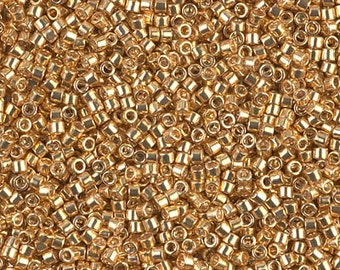 11/0 Galvanized Yellow Gold Miyuki Delica-410 DB410, Delica 410, 6 Grams
