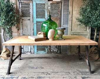 NOW SOLD - Huge, rustic industrial dining table (amost 7 x 4 ft!)