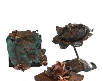 Set 3 handmade copper Candleholders: Easy Rose, Waterlily, Rose&Wood