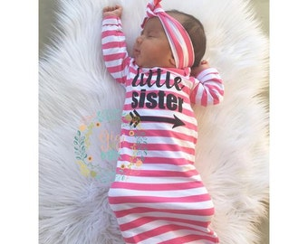 Little sister Baby girl gown pink stripe gown baby gown coming home outfit - pink gown going home set brand new, baby shower gift