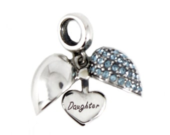 Sterling Silver Open Heart Daughter Dangle Screw-on Charm Bead fits Pandora Biagi Chamilia Bracelets