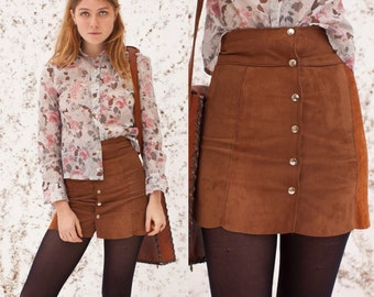 70s Brown Suede Mini Skirt S XS | Womens High Waist 1970s Tan Scalloped Hippie Gogo