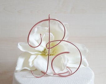 Wire initial cake topper, wedding cake topper, monogram baptism topper, letter cake topper, first communion decoration