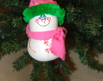 Hand painted and crafted gouda art snowman Christmas ornament by Debbie Easley 34