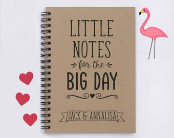 "Little Notes for the Big Day, Personalized, 5"" x 7"" wedding notebook, wedding notes, wedding ideas, wedding details, engagement gift, gift"