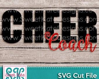 Cheer Coach SVG Cheerleader JPG PNG {Scrapbook Die Cut Heat Transfer Vinyl} Cricut Explore Silhouette Sports Sweet Kate Designs
