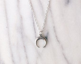 Bohemian Double Horn Crescent Moon Necklace