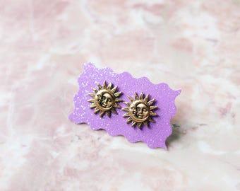 Silver / gold Celestial Sun And Moon Earring Studs, Boho Jewelry, Celestial, Handmade Earrings, Gift Ideas for Her