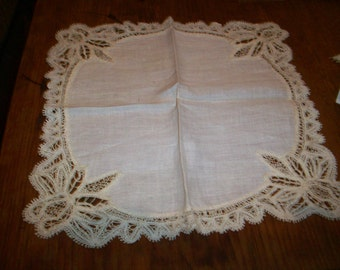 Antique Lace hand done lace  wedding hanky/doily 1800s