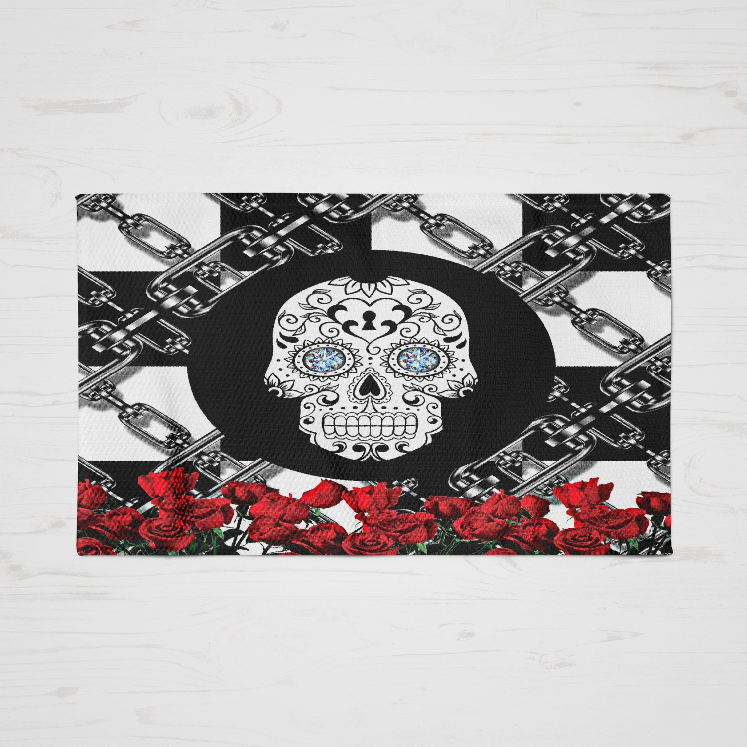 Skull Area Rugs: Sugar Skull Throw Rug Area Rugs Red Roses And Chains