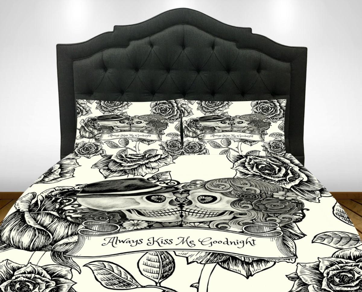 Candy Skull Bedding: Skull Bedding Sugar Skulls Duvet Cover Comforter Set Cream