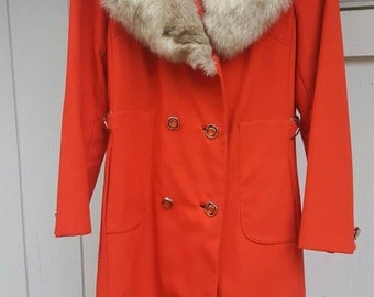 1960s//RED/orange jacket with Large fur collar //size s/m// plastic retro buttons