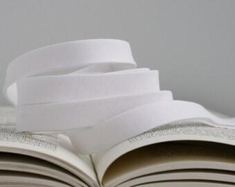 """1/2"""" or 1"""" Double Fold Bias Tape: White"""